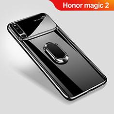 Huawei Honor Magic 2用ハードケース プラスチック 質感もマット アンド指輪 マグネット式 A01 ファーウェイ ブラック