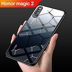 Huawei Honor Magic 2用ハイブリットバンパーケース クリア透明 プラスチック 鏡面 カバー M03 ファーウェイ ブラック