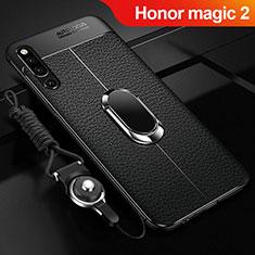 Huawei Honor Magic 2用シリコンケース ソフトタッチラバー レザー柄 アンド指輪 マグネット式 A01 ファーウェイ ブラック