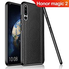 Huawei Honor Magic 2用シリコンケース ソフトタッチラバー レザー柄 ファーウェイ ブラック