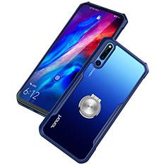 Huawei Honor Magic 2用360度 フルカバーハイブリットバンパーケース クリア透明 プラスチック 鏡面 アンド指輪 マグネット式 A01 ファーウェイ ネイビー