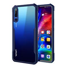 Huawei Honor Magic 2用ハイブリットバンパーケース クリア透明 プラスチック 鏡面 カバー A01 ファーウェイ ネイビー
