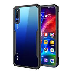 Huawei Honor Magic 2用ハイブリットバンパーケース クリア透明 プラスチック 鏡面 カバー A01 ファーウェイ ブラック