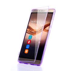 Huawei Honor Note 8用ソフトケース フルカバー クリア透明 ファーウェイ パープル