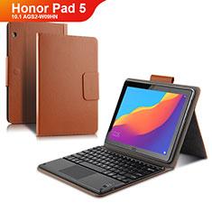 Huawei Honor Pad 5 10.1 AGS2-W09HN AGS2-AL00HN用手帳型 レザーケース スタンド アンド キーボード ファーウェイ ブラウン