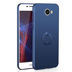 Huawei Honor Play 5用ハードケース プラスチック 質感もマット アンド指輪 A01 ファーウェイ ネイビー