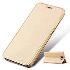 Huawei Honor Play 5用手帳型 レザーケース スタンド ファーウェイ ゴールド
