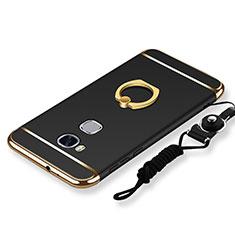 Huawei Honor Play 5X用ケース 高級感 手触り良い メタル兼プラスチック バンパー アンド指輪 亦 ひも ファーウェイ ブラック