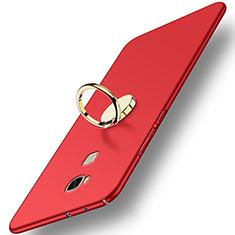 Huawei Honor Play 5X用ハードケース プラスチック 質感もマット アンド指輪 ファーウェイ レッド