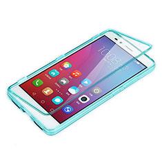 Huawei Honor Play 5X用ソフトケース フルカバー クリア透明 ファーウェイ ブルー