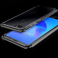 Huawei Honor Play 7用極薄ソフトケース シリコンケース 耐衝撃 全面保護 クリア透明 H01 ファーウェイ ブラック