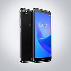 Huawei Honor Play 7用極薄ソフトケース シリコンケース 耐衝撃 全面保護 クリア透明 S01 ファーウェイ ブラック