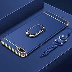 Huawei Honor Play 7用ケース 高級感 手触り良い メタル兼プラスチック バンパー アンド指輪 亦 ひも ファーウェイ ネイビー