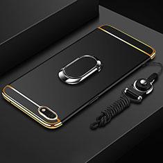Huawei Honor Play 7用ケース 高級感 手触り良い メタル兼プラスチック バンパー アンド指輪 亦 ひも ファーウェイ ブラック