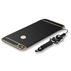 Huawei Honor Play 7X用ケース 高級感 手触り良い メタル兼プラスチック バンパー 亦 ひも ファーウェイ ブラック