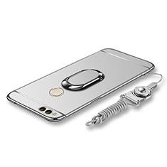 Huawei Honor Play 7X用ケース 高級感 手触り良い メタル兼プラスチック バンパー アンド指輪 亦 ひも ファーウェイ シルバー