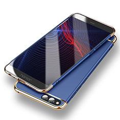 Huawei Honor Play 7X用ケース 高級感 手触り良い メタル兼プラスチック バンパー ファーウェイ ネイビー