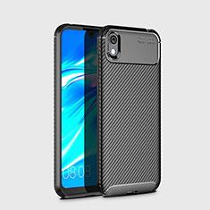 Huawei Honor Play 8用シリコンケース ソフトタッチラバー ツイル カバー ファーウェイ ブラック