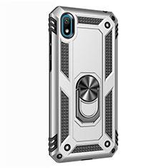 Huawei Honor Play 8用ハイブリットバンパーケース プラスチック アンド指輪 マグネット式 ファーウェイ シルバー