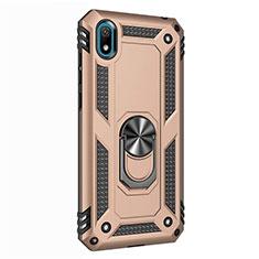 Huawei Honor Play 8用ハイブリットバンパーケース プラスチック アンド指輪 マグネット式 ファーウェイ ゴールド