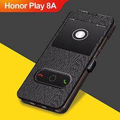 Huawei Honor Play 8A用手帳型 レザーケース スタンド ファーウェイ ブラック