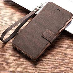 Huawei Honor Play 8A用手帳型 レザーケース スタンド カバー ファーウェイ ブラウン