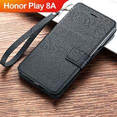 Huawei Honor Play 8A用手帳型 レザーケース スタンド カバー ファーウェイ ブラック