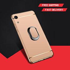 Huawei Honor Play 8A用ケース 高級感 手触り良い メタル兼プラスチック バンパー アンド指輪 A01 ファーウェイ ゴールド