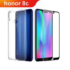 Huawei Honor Play 8C用極薄ソフトケース シリコンケース 耐衝撃 全面保護 クリア透明 アンド液晶保護フィルム ファーウェイ クリア