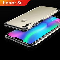 Huawei Honor Play 8C用極薄ソフトケース シリコンケース 耐衝撃 全面保護 クリア透明 H01 ファーウェイ ブラック