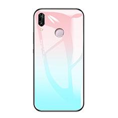 Huawei Honor Play用ハイブリットバンパーケース プラスチック 鏡面 虹 グラデーション 勾配色 カバー ファーウェイ ブルー
