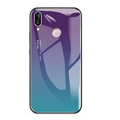 Huawei Honor Play用ハイブリットバンパーケース プラスチック 鏡面 虹 グラデーション 勾配色 カバー ファーウェイ マルチカラー