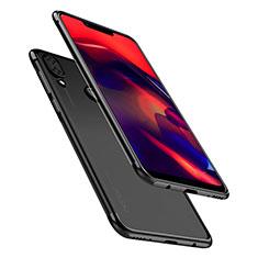 Huawei Honor Play用極薄ソフトケース シリコンケース 耐衝撃 全面保護 クリア透明 H01 ファーウェイ ブラック