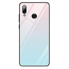 Huawei Honor Play用ハイブリットバンパーケース プラスチック 鏡面 虹 グラデーション 勾配色 カバー G01 ファーウェイ ブルー
