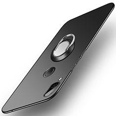 Huawei Honor Play用ハードケース プラスチック 質感もマット アンド指輪 A01 ファーウェイ ブラック