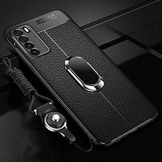 Huawei Honor Play4 5G用シリコンケース ソフトタッチラバー レザー柄 アンド指輪 マグネット式 ファーウェイ ブラック