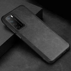 Huawei Honor Play4 5G用ケース 高級感 手触り良いレザー柄 ファーウェイ ブラック