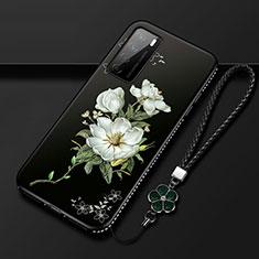 Huawei Honor Play4 5G用シリコンケース ソフトタッチラバー 花 カバー ファーウェイ ホワイト