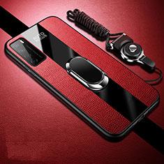 Huawei Honor Play4 5G用シリコンケース ソフトタッチラバー レザー柄 アンド指輪 マグネット式 S01 ファーウェイ レッド