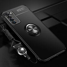 Huawei Honor Play4 5G用極薄ソフトケース シリコンケース 耐衝撃 全面保護 アンド指輪 マグネット式 バンパー T01 ファーウェイ ブラック