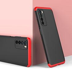 Huawei Honor Play4 5G用ハードケース プラスチック 質感もマット 前面と背面 360度 フルカバー P01 ファーウェイ レッド・ブラック