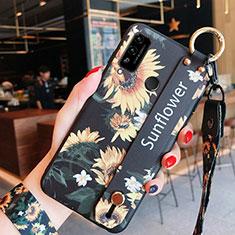 Huawei Honor Play4T用シリコンケース ソフトタッチラバー 花 カバー ファーウェイ オレンジ
