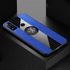 Huawei Honor Play4T用極薄ソフトケース シリコンケース 耐衝撃 全面保護 アンド指輪 マグネット式 バンパー ファーウェイ ネイビー