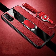 Huawei Honor Play4T用シリコンケース ソフトタッチラバー レザー柄 アンド指輪 マグネット式 ファーウェイ レッド