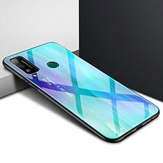 Huawei Honor Play4T用ハイブリットバンパーケース プラスチック 鏡面 カバー ファーウェイ シアン