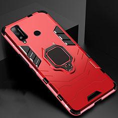 Huawei Honor Play4T用ハイブリットバンパーケース プラスチック アンド指輪 マグネット式 ファーウェイ レッド