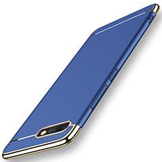 Huawei Honor V10用ケース 高級感 手触り良い メタル兼プラスチック バンパー M01 ファーウェイ ネイビー