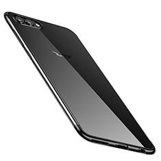 Huawei Honor V10用極薄ソフトケース シリコンケース 耐衝撃 全面保護 クリア透明 H02 ファーウェイ ブラック