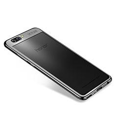 Huawei Honor V10用極薄ソフトケース シリコンケース 耐衝撃 全面保護 クリア透明 H04 ファーウェイ ブラック