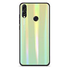 Huawei Honor V10 Lite用ハイブリットバンパーケース プラスチック 鏡面 虹 グラデーション 勾配色 カバー R01 ファーウェイ グリーン